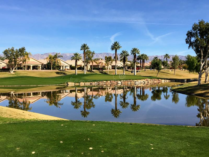 A beautiful view from the tee box of a difficult par 3 that requires a shot over the water onto an island green. Palm trees are behind the green and reflect on royalty free stock photos
