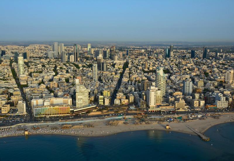 Tel Aviv City Helicopter View stock image