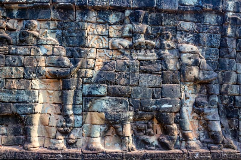 Terrace of elephants in Angkor Thom in Cambodia stock photography