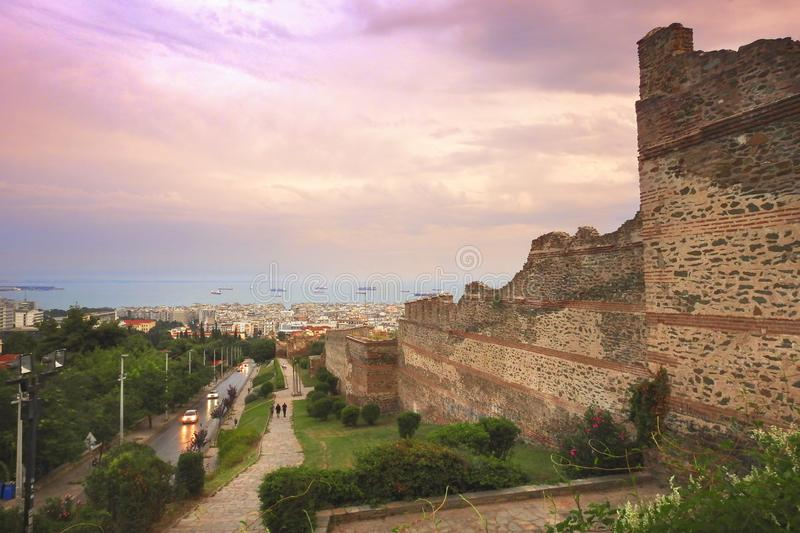 A beautiful view of Thessaloniki from the Trigonion Tower stock photo