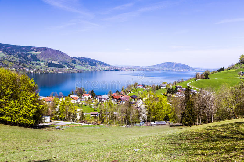 Beautiful view to the Attersee in Austria royalty free stock photos