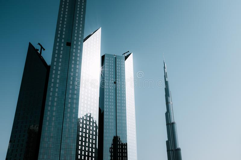 Beautiful view to Dubai downtown skyscrapers. In the daytime, United Arab Emirates royalty free stock photo