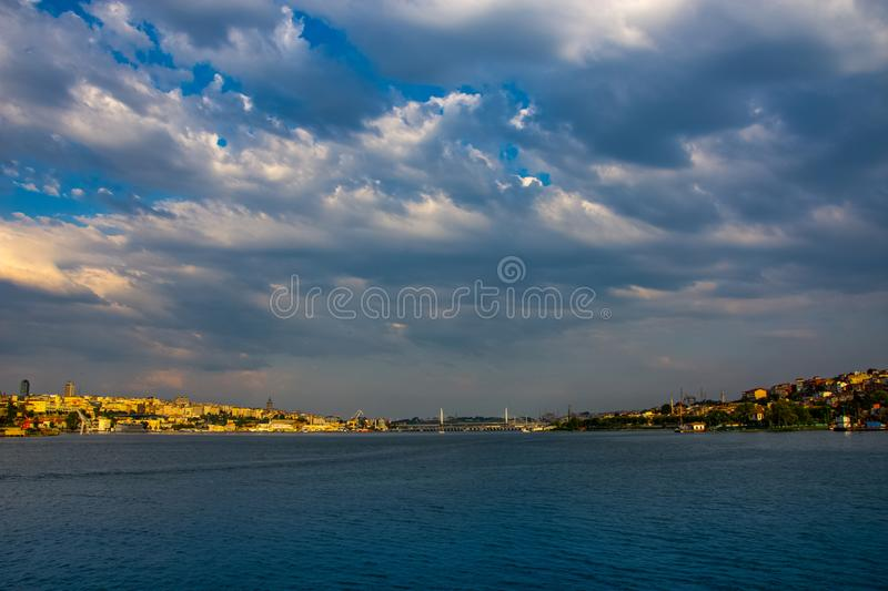 The beautiful view to the Istanbul city from the far distance royalty free stock image
