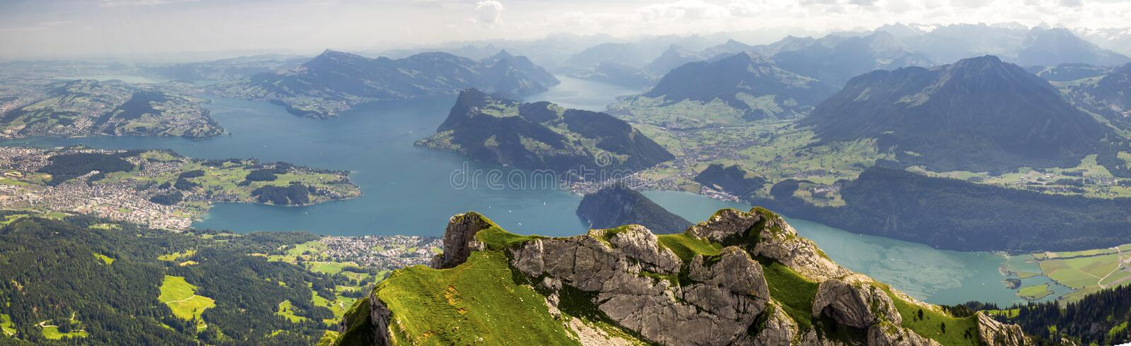 Beautiful view to Lucerne lake (Vierwaldstattersee), mountain Ri stock images
