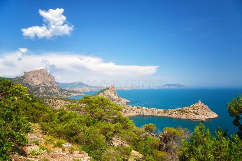 Beautiful view to mountains Karaul Oba on the cape Kapchik royalty free stock images