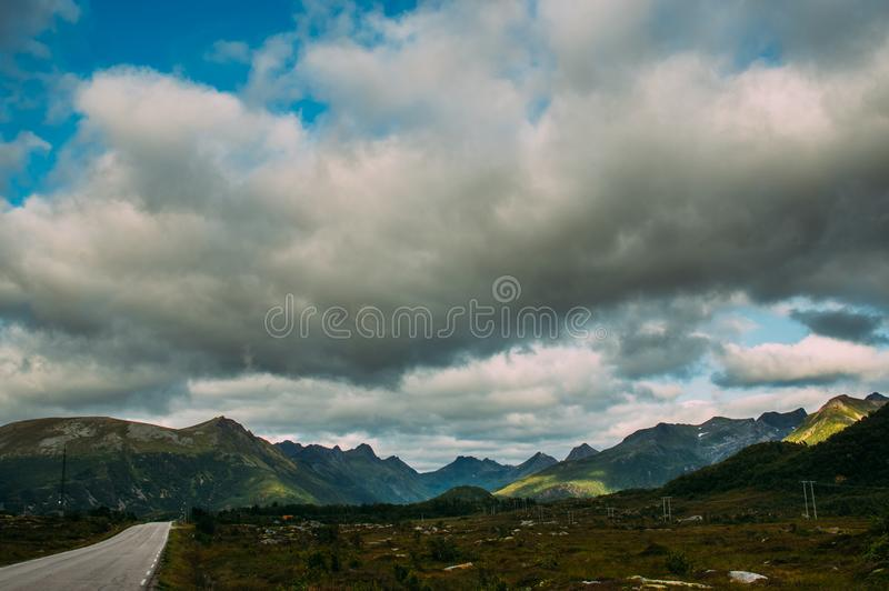 Beautiful view to the mountains on Lofoten Islands, Norway stock photos