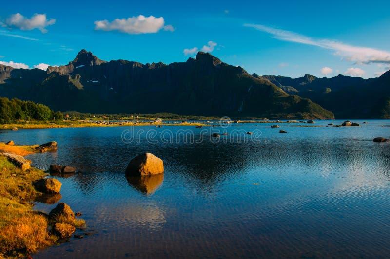 Beautiful view to the mountains near Grunnforfjord, Lofoten Islands. Norway royalty free stock image