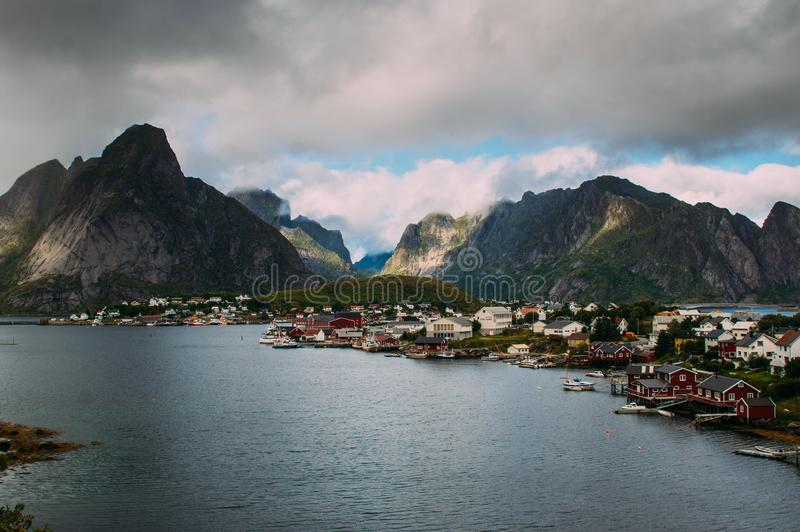 Beautiful view to the Reine and mountains, Lofoten Islands, Norway stock photos