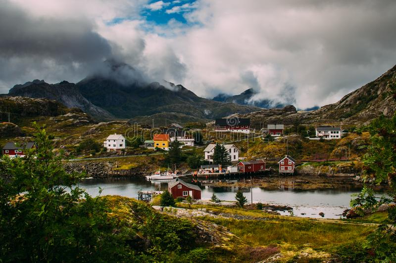 Beautiful view to the Sund and mountains, Lofoten Islands, Norway stock photography