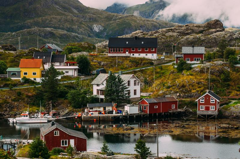 Beautiful view to the Sund and mountains, Lofoten Islands, Norway stock photo