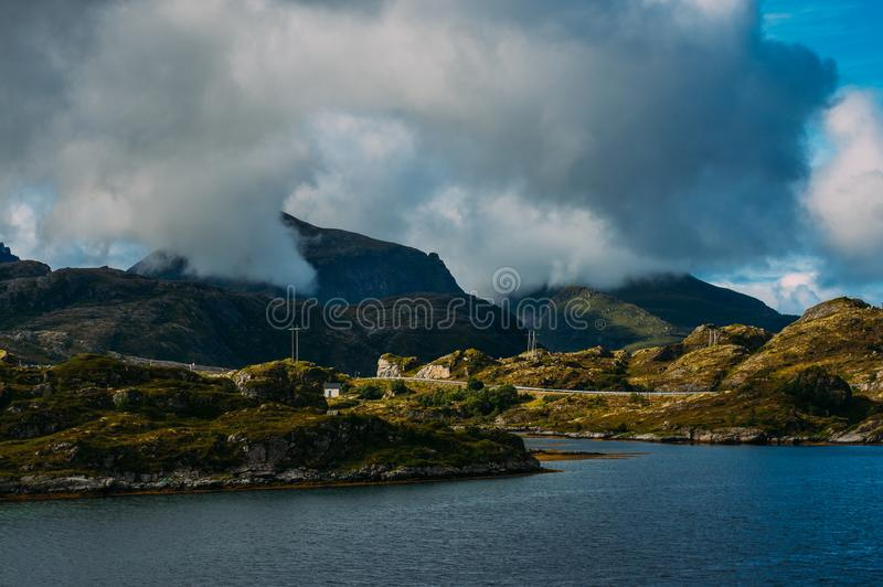 Beautiful view to the Sund and mountains, Lofoten Islands, Norway royalty free stock photography