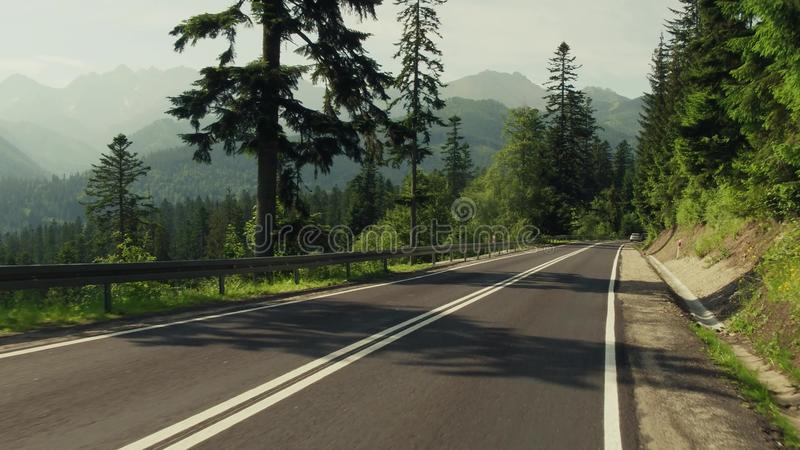 Beautiful view to the Tatra mountains from the car road royalty free stock images