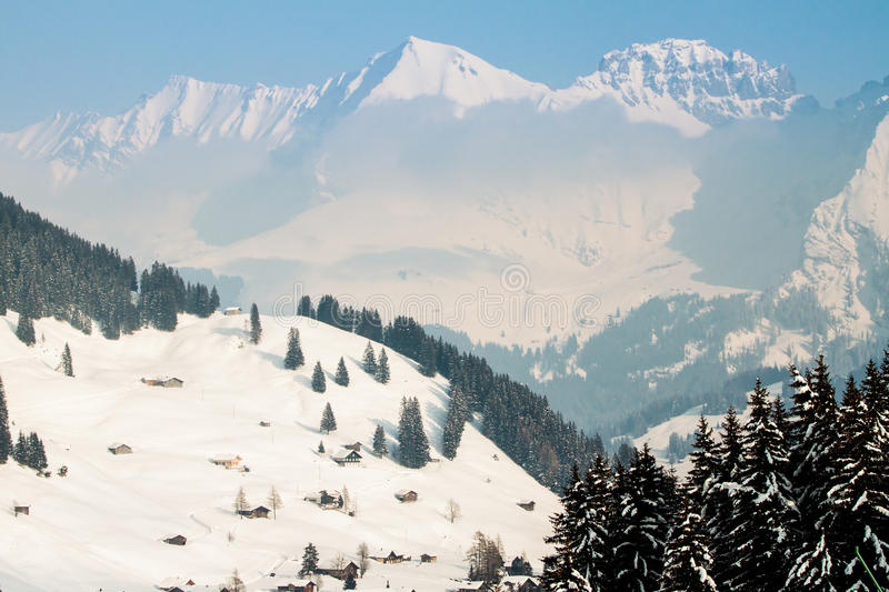 Beautiful view to winter Swiss Alps, Adelboden stock photos