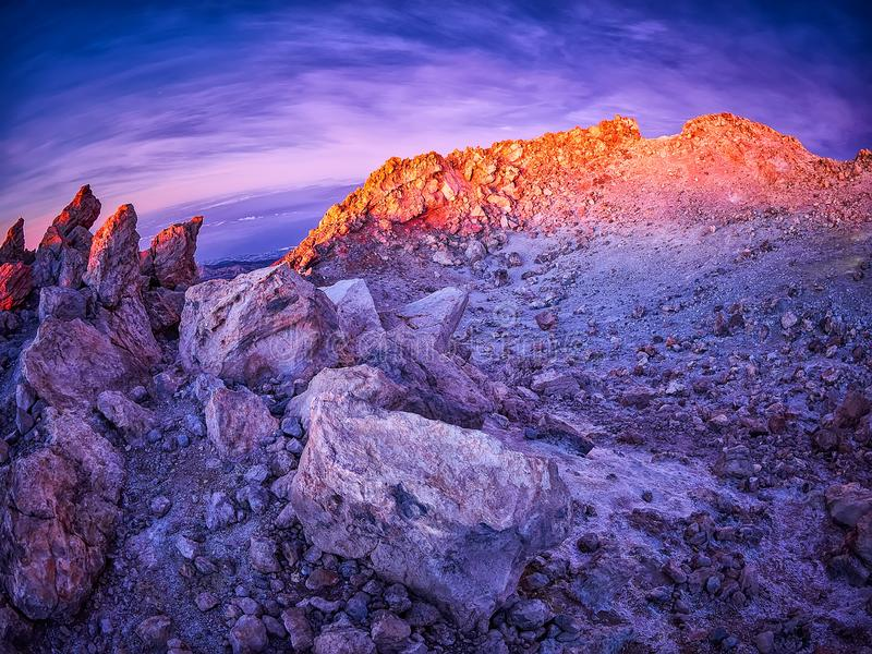 Beautiful view from the top of the Teide volcano peak, Pico del Teide, with tourists at sunrise in Tenerife, Spain stock images