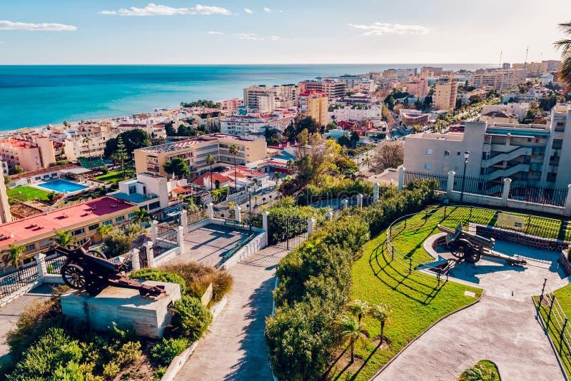 Beautiful view of Torremolinos coast stock photography