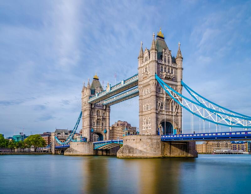 Beautiful view of Tower Bridge in London United Kingdom UK.  royalty free stock photos