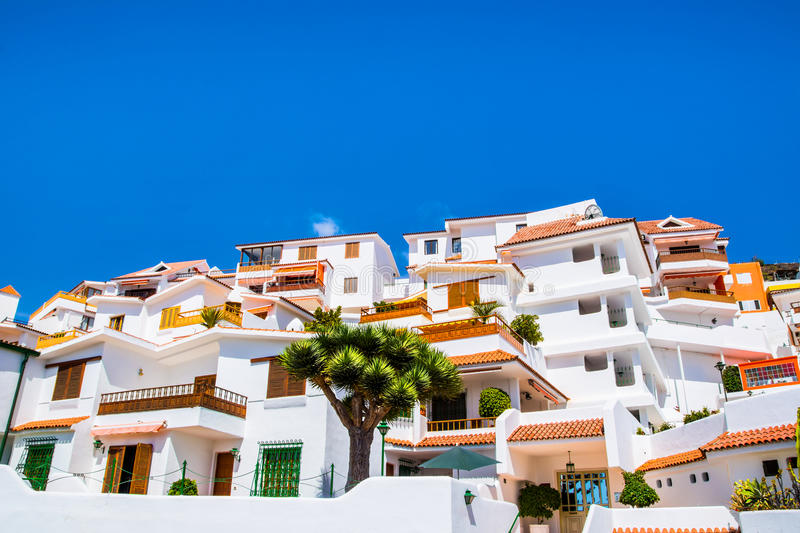 Beautiful view of the traditional architecture of Los Cristianos, Costa Adeje and Las Americas, Tenerife, Canary Islands, Spain royalty free stock photography