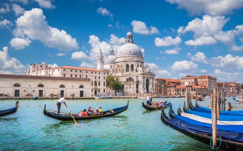 Gondolas on Canal Grande with Basilica di Santa Maria della Salute, Venice, Italy stock image