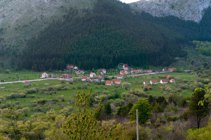 Beautiful view of the traditional houses in the mountainous terrain in Montenegro stock image