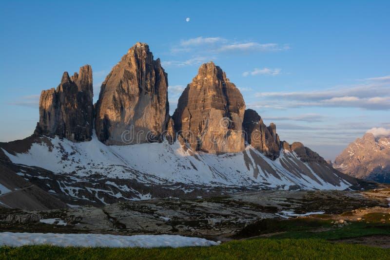 Beautiful view of Tre Cime mountain at dawn. Sexten Dolomites, Italy. Beautiful view of Tre Cime Drei Zinnen mountain at dawn. Sexten Dolomites, Italy stock photos