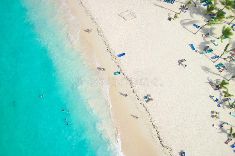 Beautiful view of a tropical beach from the air stock image