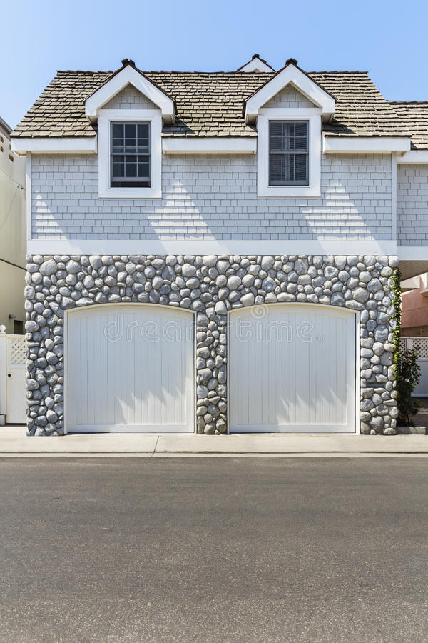 Beautiful view of a two car garage royalty free stock images