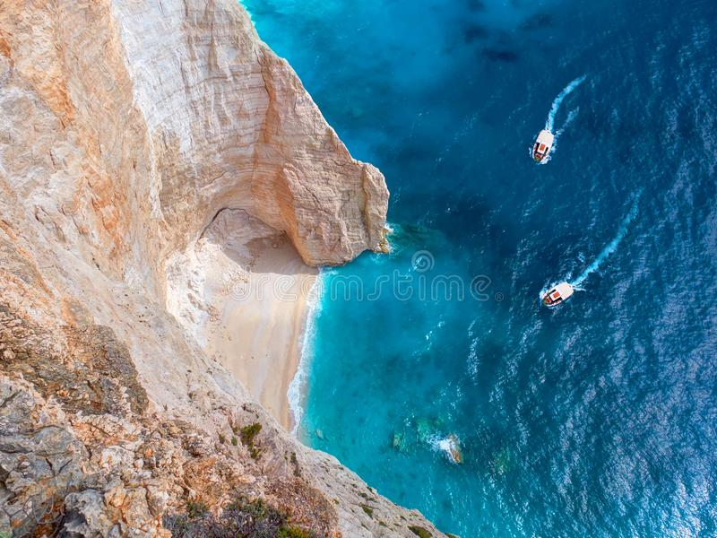 Beautiful view on two touristic boats going to Blue Caves reefs in Ionian Sea blue water. Sightseeing point. Two boats Greece Isla stock photo
