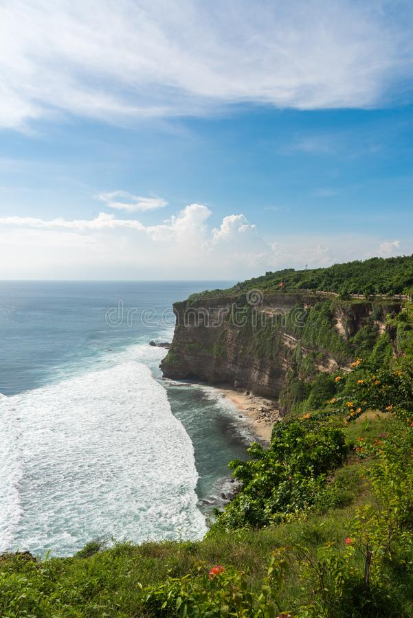 View of Uluwatu cliff with beatiful clear sky and blue sea in Ba royalty free stock photos