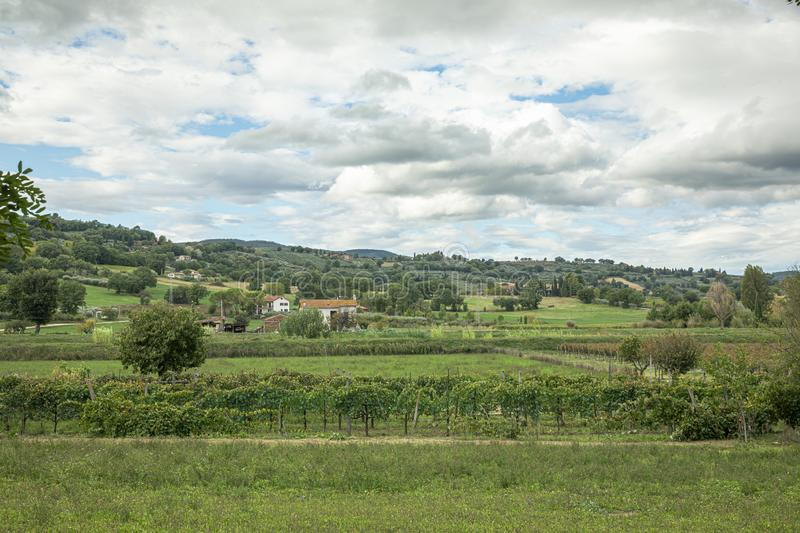 Beautiful view on Umbria fields near the old town of Bevagna, Italy stock photo