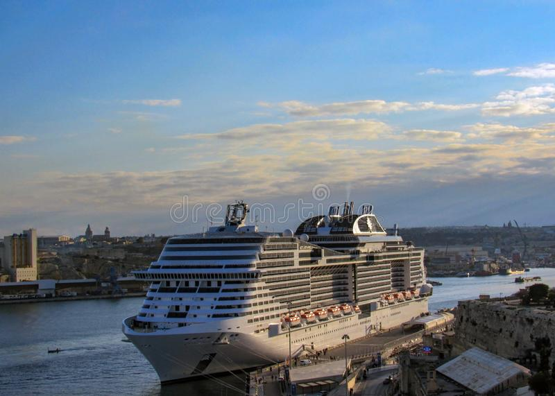 Beautiful view from upper Barrakka Gardens on huge cruise ship in Grand Harbor of Valletta, Malta stock images