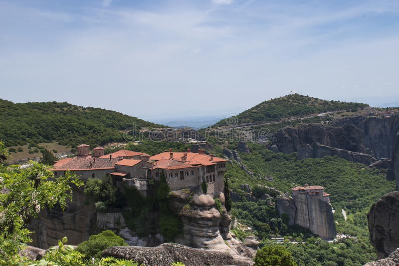 Beautiful view of the Varlaam Monastery. Monasterries and Rock formations in Meteora. UNESCO heritage list object. royalty free stock image