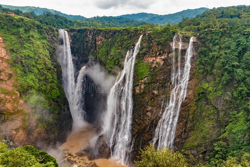 Jog Falls, Rocket Falls and Roarer Falls on Sharavathi River, in Western Ghats of Karnataka state in monsoon season. Beautiful view of very famous Jog Falls royalty free stock images