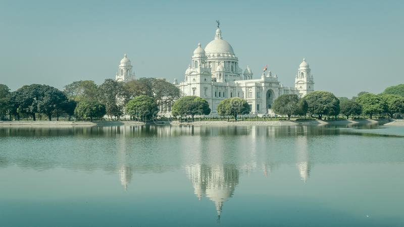 A beautiful view of Victoria Memorial with reflection on water, Kolkata, Calcutta, West Bengal, India royalty free stock images
