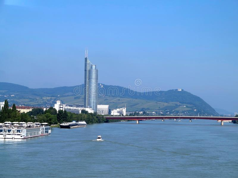 Beautiful view of Vienna cityscape with Danube river and bridge, ienna. Austria. stock photo