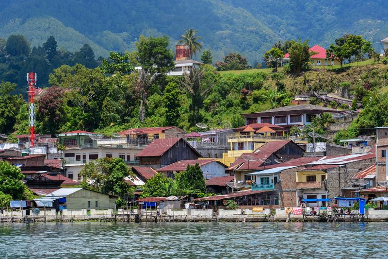 Beautiful view of Village on Lake Toba. This view from Samosir Island, North Sumatra, Indonesia.  royalty free stock image