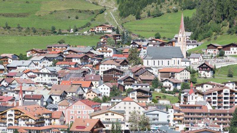 Beautiful view on the village of Nauders, at the north of the fa stock images