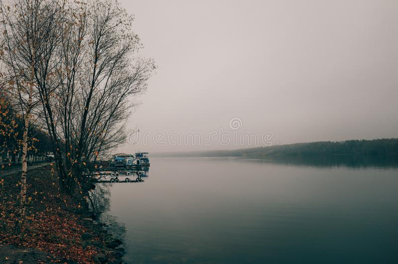 Beautiful view of the Volga river Embankment in late autumn. Ples old Russian city in Russia. The City is associated with the great Russian artist Levitan royalty free stock images