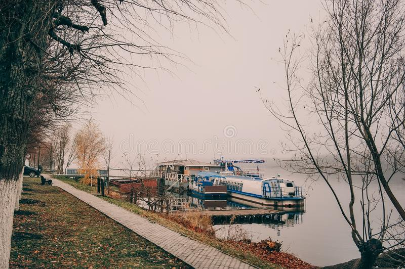 Beautiful view of the Volga river Embankment in late autumn. Ples old Russian city in Russia. The City is associated with the great Russian artist Levitan royalty free stock photo