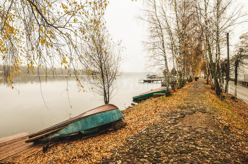 Beautiful view of the Volga river Embankment in late autumn. Ples old Russian city in Russia. The City is associated with the great Russian artist Levitan stock image