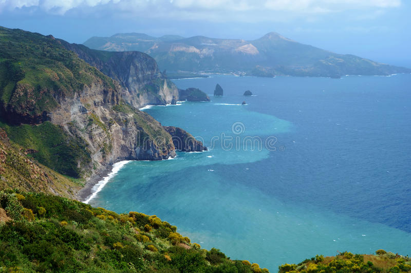 Beautiful view on Vulcano island from Lipari island, Italy royalty free stock image