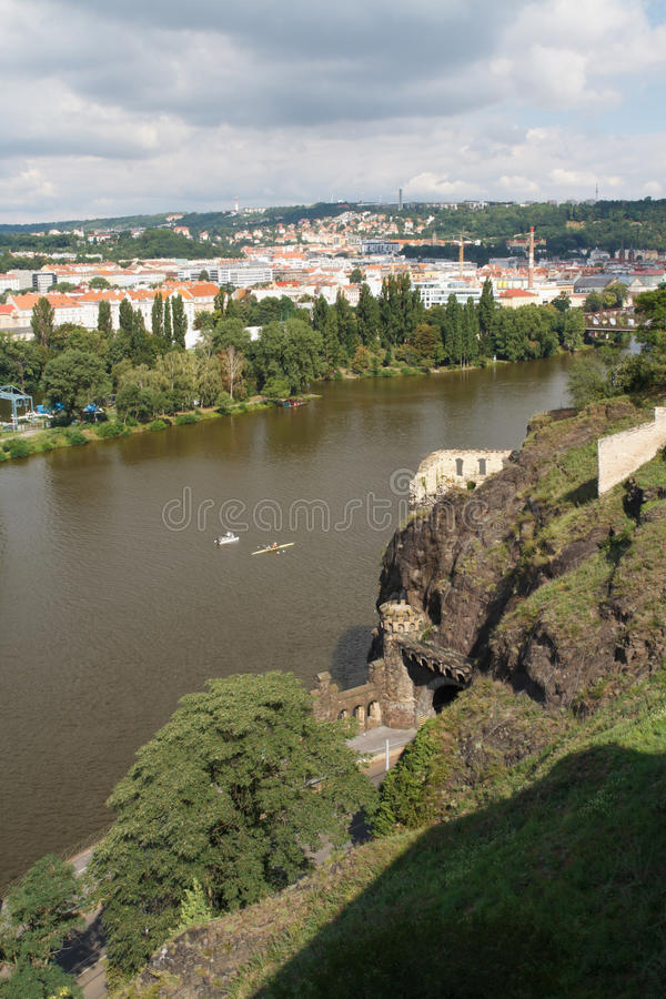Beautiful view of Vysehrad on the river Vltava and city of Prague. Czech Republic stock image