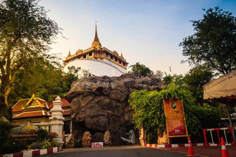 Beautiful view of Wat Saket Ratcha Wora Maha Wihan (Wat Phu Khao Thong, Golden Mount temple), a popular Bangkok tourist. Attraction and has become one of the stock image
