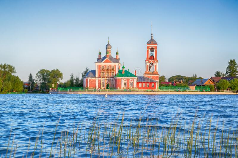 Beautiful view  of the Church of the Forty martyrs of Sebaste in the city of the Golden ring Pereslavl Zalessky. Beautiful view from the water of the Church of stock images