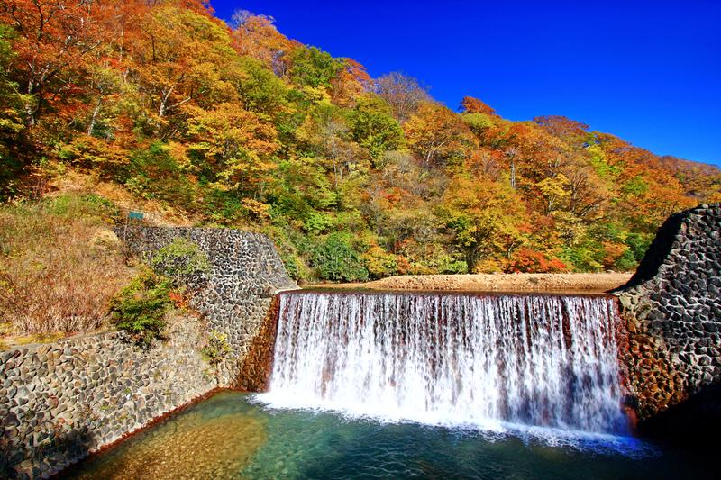 Beautiful view of waterfall in Nyuto onsen hot spring resorts. Beautiful view of waterfall surrounding with colorful autumn forest in hot spring resorts of Nyuto royalty free stock photography