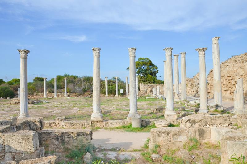 Beautiful view of well preserved ruins of Antique city Salamis located near Famagusta, Turkish Northern Cyprus. Salamis was an ancient Greek city-state. The royalty free stock photography