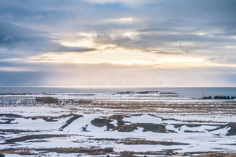 Beautiful view and Winter Landscape picture of Iceland winter sea stock image
