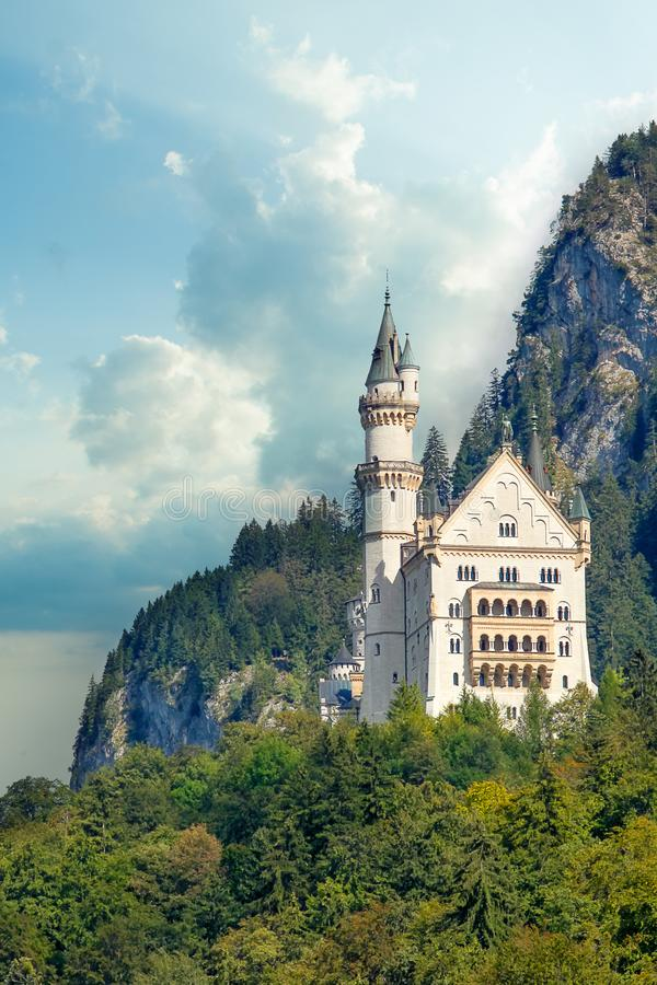 Beautiful view of world-famous Neuschwanstein Castle, the 19th century Romanesque Revival palace built for King Ludwig II royalty free stock images
