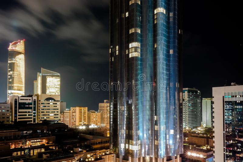 Beautiful view of World trade center in Abu Dhabi city at night royalty free stock photography