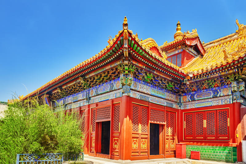 Beautiful View of Yonghegong Lama Temple.Beijing. Lama Temple is. One of the largest and most important Tibetan Buddhist monasteries in the world royalty free stock image