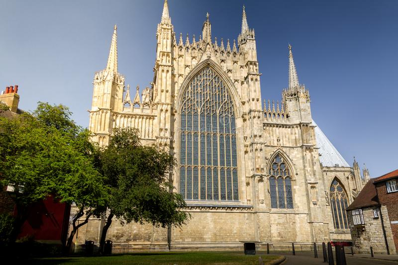 Beautiful view of York Minster Cathedral on a sunny summer day in Yorkshire, England. UK stock images